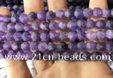 CNA766 15.5 inches 6mm faceted nuggets matte amethyst beads