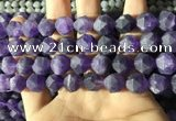 CNA769 15.5 inches 12mm faceted nuggets matte amethyst beads