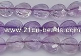 CNA924 15.5 inches 10*10mm faceted flat teardrop natural amethyst beads