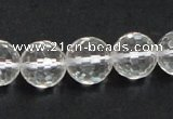 CNC11 15.5 inches 14mm faceted round grade AB natural white crystal beads