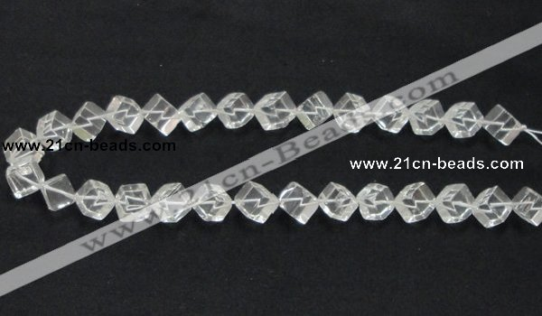 CNC15 15.5 inches 10*10mm cubic grade AB natural white crystal beads