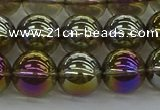 CNC264 15.5 inches 10mm round plated natural white crystal beads