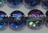 CNC305 15.5 inches 14mm round AB-color white crystal beads
