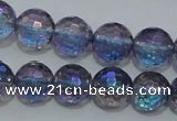 CNC312 15.5 inches 8mm faceted round AB-color white crystal beads