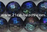 CNC315 15.5 inches 14mm faceted round AB-color white crystal beads