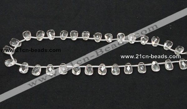 CNC34 8*12mm faceted trapezoid grade AB natural white crystal beads