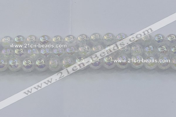 CNC565 15.5 inches 14mm round plated crackle white crystal beads