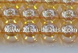 CNC578 15.5 inches 10mm round plated natural white crystal beads