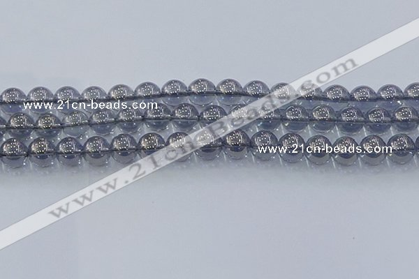 CNC596 15.5 inches 10mm round plated natural white crystal beads