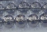 CNC597 15.5 inches 12mm round plated natural white crystal beads