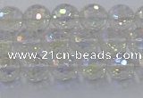 CNC601 15.5 inches 6mm faceted round plated natural white crystal beads