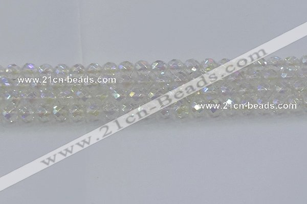 CNC610 15.5 inches 10mm faceted round plated natural white crystal beads
