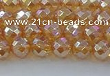 CNC620 15.5 inches 6mm faceted round plated natural white crystal beads