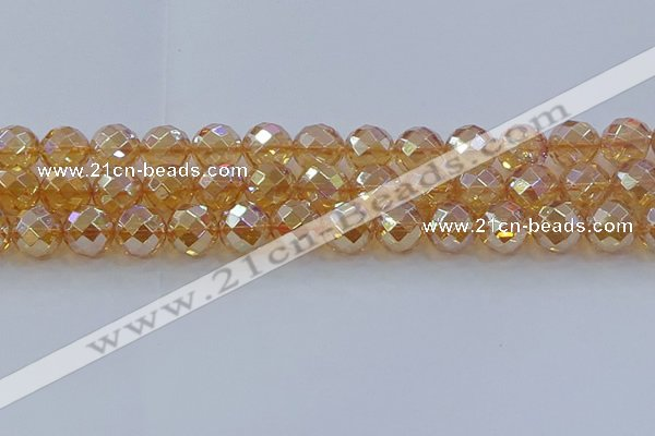 CNC624 15.5 inches 14mm faceted round plated natural white crystal beads