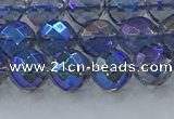 CNC634 15.5 inches 8mm faceted round plated natural white crystal beads