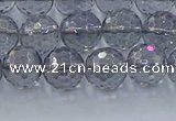 CNC640 15.5 inches 8mm faceted round plated natural white crystal beads
