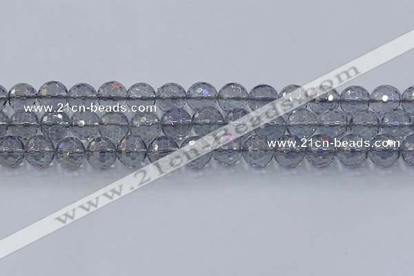 CNC642 15.5 inches 12mm faceted round plated natural white crystal beads
