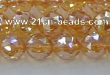 CNC653 15.5 inches 10mm faceted round plated natural white crystal beads