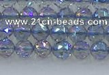 CNC657 15.5 inches 6mm faceted round plated natural white crystal beads