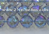 CNC659 15.5 inches 10mm faceted round plated natural white crystal beads