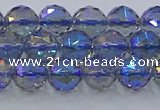 CNC664 15.5 inches 8mm faceted round plated natural white crystal beads
