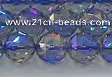 CNC667 15.5 inches 14mm faceted round plated natural white crystal beads