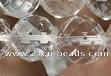 CNC707 15.5 inches 16mm faceted round white crystal beads