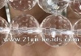 CNC715 15.5 inches 12mm faceted round white crystal beads