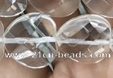 CNC739 15.5 inches 16*16mm faceted heart white crystal beads
