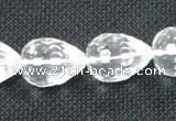 CNC74 8*12mm faceted teardrop grade A natural white crystal beads