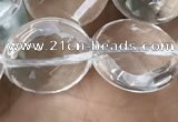 CNC748 15.5 inches 16mm faceted coin white crystal beads