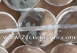 CNC749 15.5 inches 18mm faceted coin white crystal beads