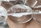 CNC766 15.5 inches 15*20mm faceted oval white crystal beads
