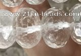 CNC801 15.5 inches 10*14mm faceted rondelle white crystal beads
