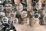 CNC832 12*16mm - 15*20mm freefrom white crystal & smoky quartz beads