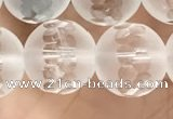 CNC853 15.5 inches 12mm faceted round white crystal beads