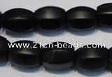 CNE16 15.5 inches 12*16mm drum black stone needle beads wholesale