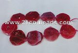 CNG1340 15.5 inches 42*45mm faceted freeform agate beads