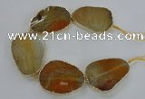 CNG1620 8 inches 35*50mm - 45*55mm freeform agate beads with brass setting