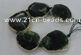 CNG1626 8 inches 40*45mm - 45*50mm freeform agate beads with brass setting
