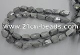 CNG1800 13*18mm - 15*20mm faceted nuggets plated quartz beads