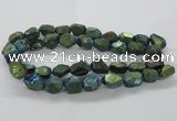 CNG1802 13*18mm - 15*20mm faceted nuggets plated quartz beads