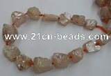 CNG1806 15.5 inches 15*20mm - 20*25mm nuggets plated rose quartz beads