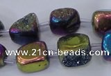 CNG2002 15.5 inches 8*12mm - 10*15mm nuggets plated quartz beads