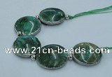 CNG2190 7.5 inches 30mm flat round agate beads with brass setting