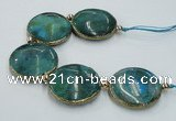 CNG2195 7.5 inches 35mm flat round agate beads with brass setting