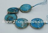 CNG2301 7.5 inches 35mm flat round agate beads with brass setting