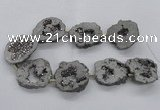 CNG2498 15.5 inches 30*40mm - 40*50mm freeform plated druzy agate beads