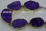 CNG2560 7.5 inches 25*35mm - 30*40mm freeform druzy agate beads