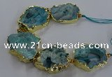 CNG2868 8 inches 35*40mm - 40*50mm freeform druzy agate beads